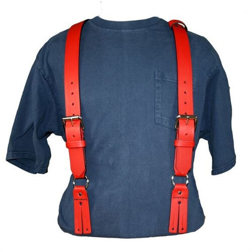 Boston Leather 9175-Red Firefighter's Suspenders (Button)