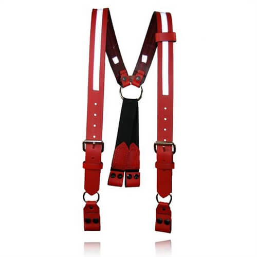 [9177R-1-Red] Boston Leather 9177R Red Firefighter Suspenders Loop, Reflective